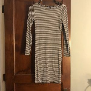 Long sleeve dress with black and grey stripes